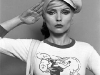 Debbie Harry popeye tshirt saluting with sailor hat on NEW YORK CITY, 1978