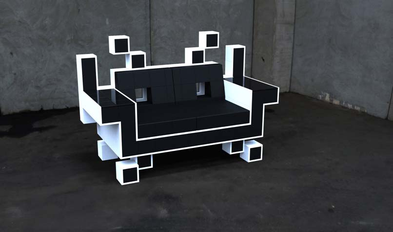 sit your ass down on a space invader lost in a supermarket. Black Bedroom Furniture Sets. Home Design Ideas