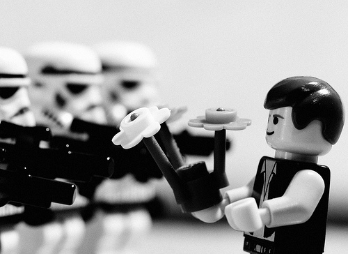 Marc Riboud\'s Photo of an Anti-Vietnam protest in Washington, Star Wars version