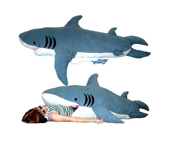 Sleep inside a 7 foot giant shark lost in a supermarket for Life size shark plush