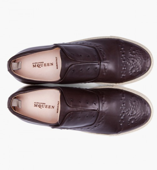 Alexander McQueen dark brown leather - alexander mcqueen leather shoes - Alexander McQueen dark brown leather shoes - leather embossed shoes